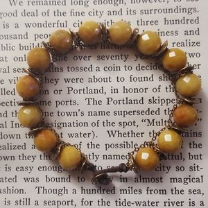 Antiqued faceted Carnelian gemstone bracelet